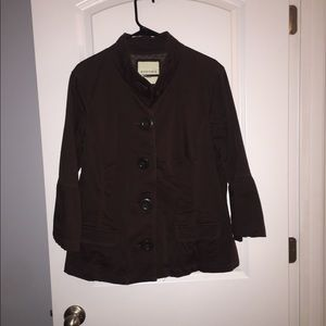 Brown button down jacket with bell sleeve